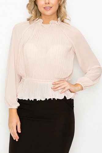 Ruffle pleats peplum top-id.cc53032