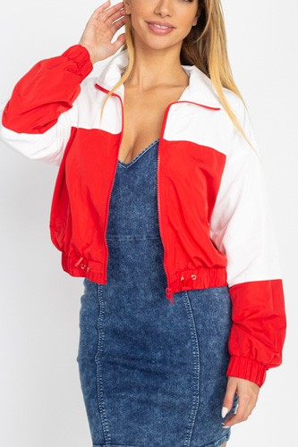 Long sleeve color blocking wind breaker-id.cc53034b
