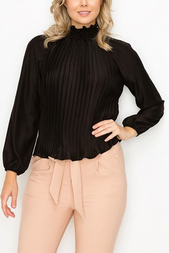Smocked trim pleated top-id.cc53036