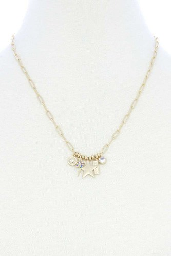 Dainty star lighting bolt charm metal necklace-id.cc53038