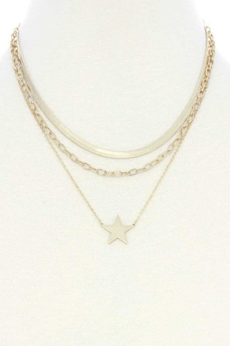 Triple layer star pendant metal necklace-id.cc53042
