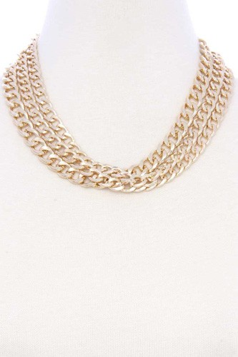 Chunky 3 layer cuban chain link metal necklace-id.cc53043