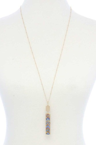 Long rectangular shape beaded pendant necklace-id.cc53044