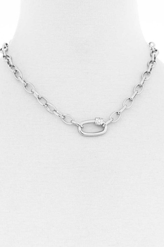 Modern oval single chunky rhinestone chain link necklace-id.cc53046