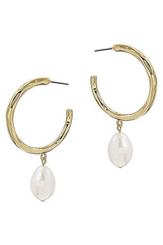 Fashion open hoop and fresh water pearl drop earring-id.cc53047