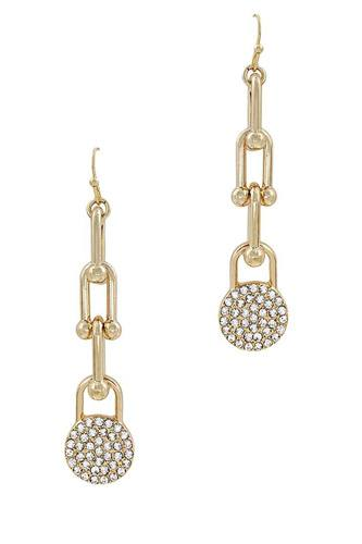 Chic fashion chain drop and rhistone earring-id.cc53048