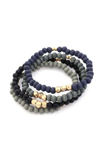 Painted wooden bead stackable stretch bracelet-id.cc53054