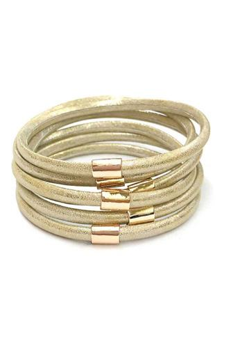 Multi faux leather bangle bracelet-id.cc53055