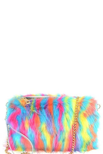 Bright multi faux fur pouch bag-id.cc53064