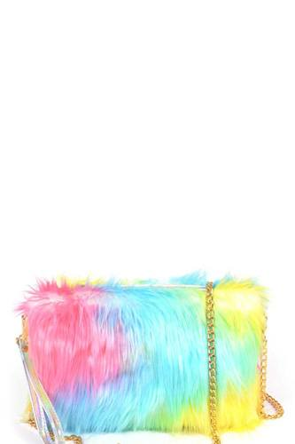 Multi color fur with wrist band pouch bag-id.cc53065