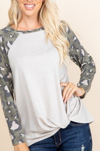 Casual french terry side twist top with animal print long sleeves-id.cc53070