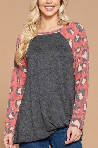 Casual french terry side twist top with animal print long sleeves-id.cc53070a