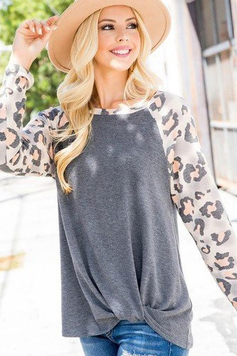 Casual french terry side twist top with animal print long sleeves-id.cc53070b