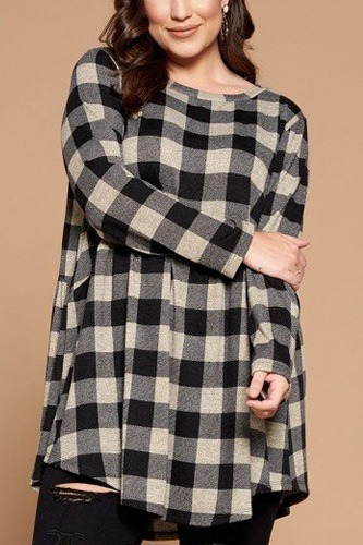 Soft knit buffalo plaid tunic top-id.cc53071a