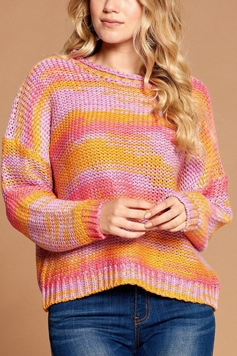 Multi-color thread striped knit sweater-id.cc53074