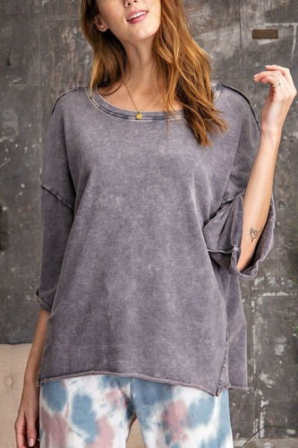 3/4 slvs mineral washed terry knit boxy top-id.cc53082