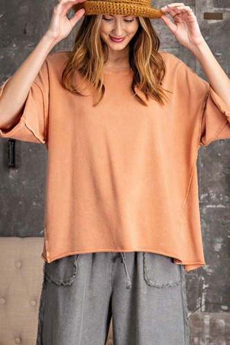 3/4 slvs mineral washed terry knit boxy top-id.cc53082a