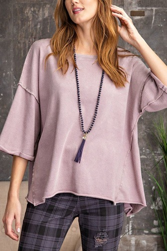 3/4 slvs mineral washed terry knit boxy top-id.cc53082b