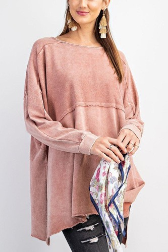 Terry knit upside down detailing side slits pullover tunic-id.cc53083b