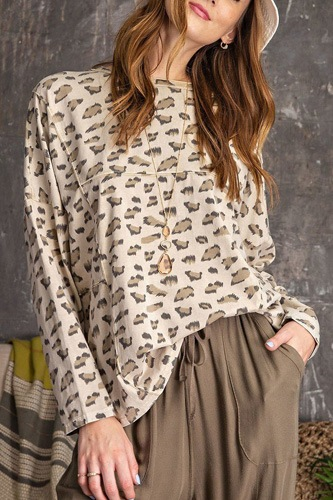 Leopard printed garment dye loose fit knit top-id.cc53085a