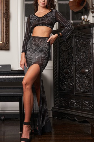 Black luxurious sheer mesh rhinestone crop top & high waist side slit detail maxi skirt set-id.cc53099