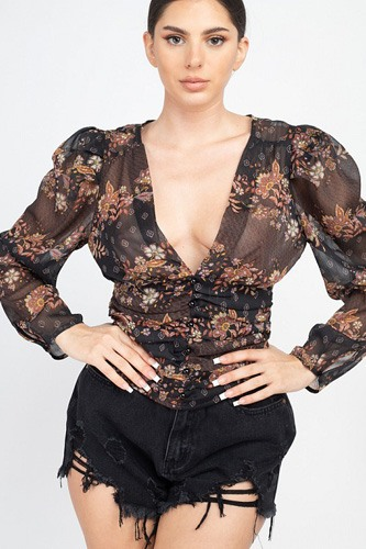 Floral v-neck ruched top-id.cc53107