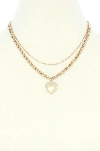 Heart locket charm metal layer necklace-id.cc53115