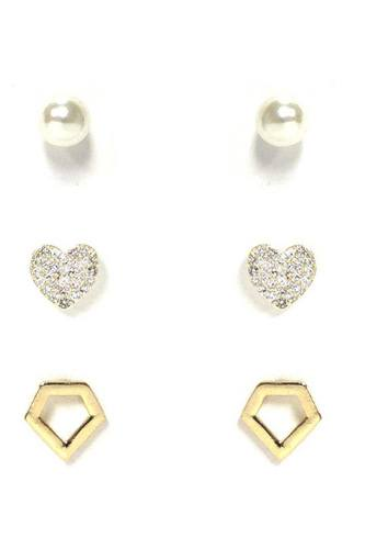 Pearl and metal stud earring 3 pair set-id.cc53125