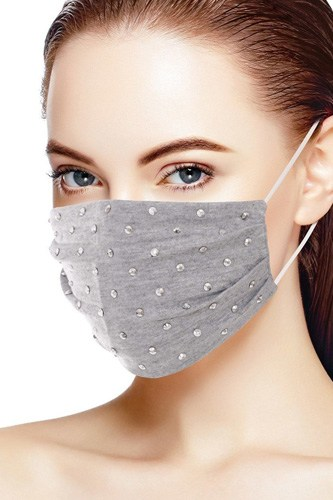 3d shiny silver metal studs cotton fashion face mask-id.cc53147b