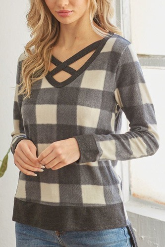 Plaid v neck long-sleeved top-id.cc53166