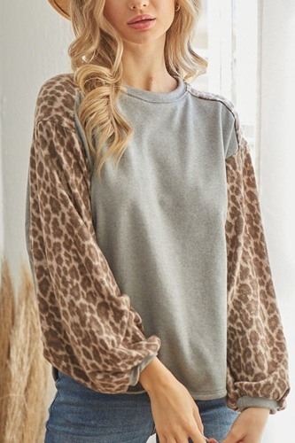 Leopard solid long sleeve top-id.cc53168