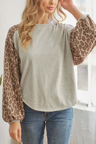 Leopard solid long sleeve top-id.cc53168a