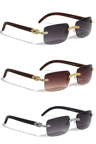 Trendy metal rhinestone rimless square sunglasses-id.cc53304