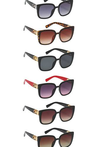 Modern metal accent link design sunglasses-id.cc53984
