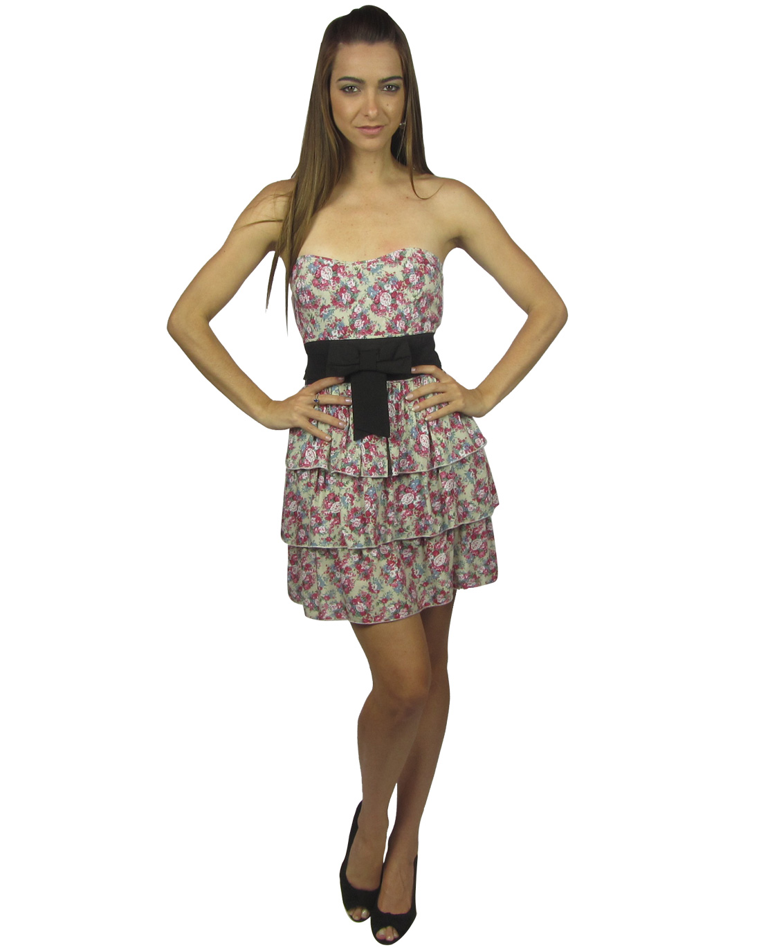 Strapless floral layered dress-id.24124b