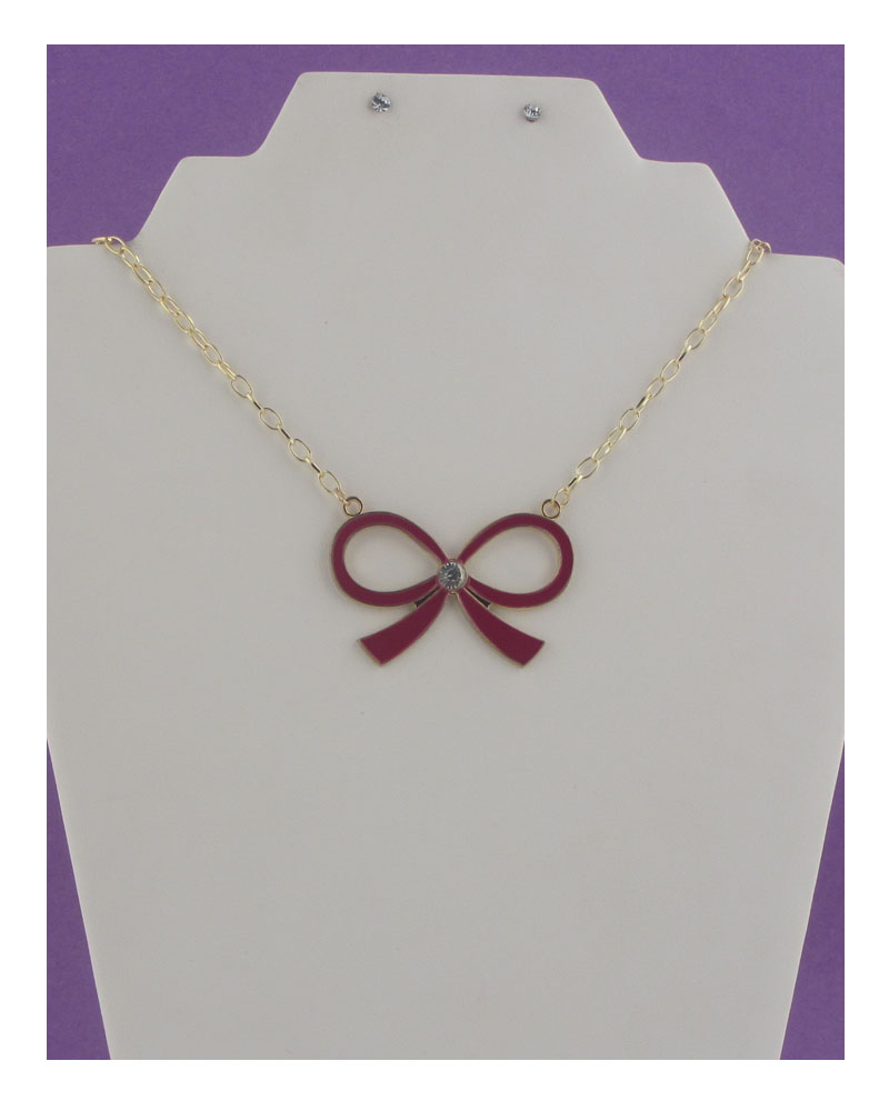 Chain lace bow necklace-id.24718