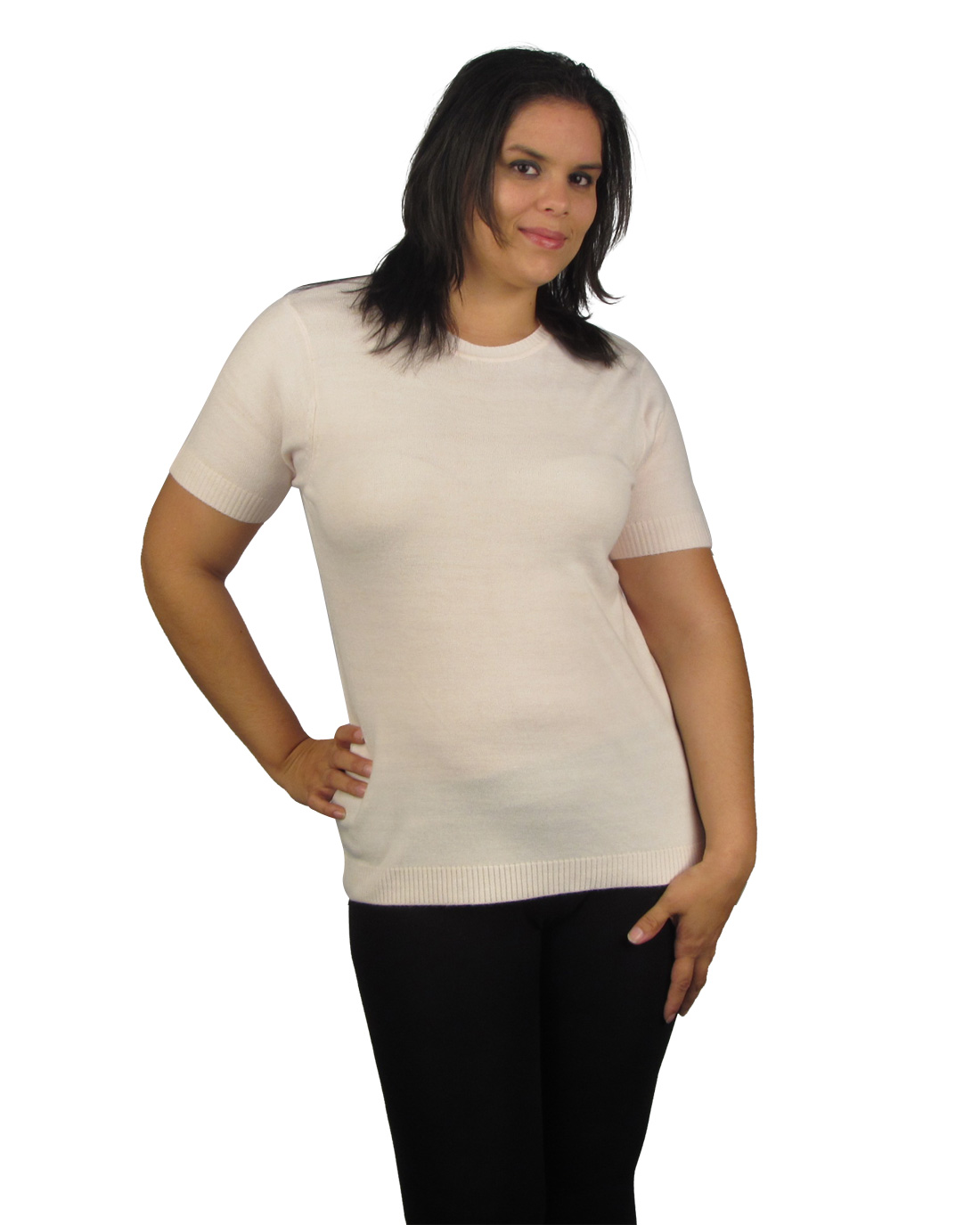 Plus size short sleeve sweater-id.25557d