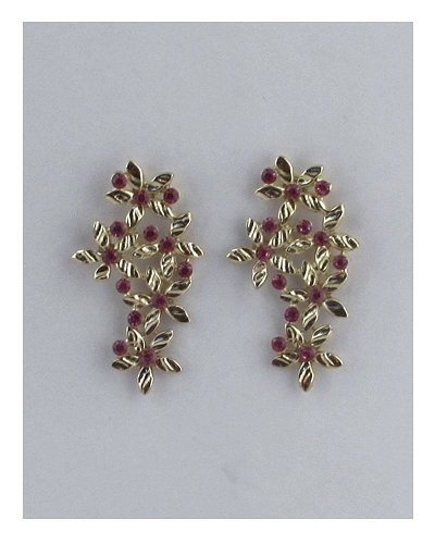 Long floral earring studs w/color rhinestones-id.27336