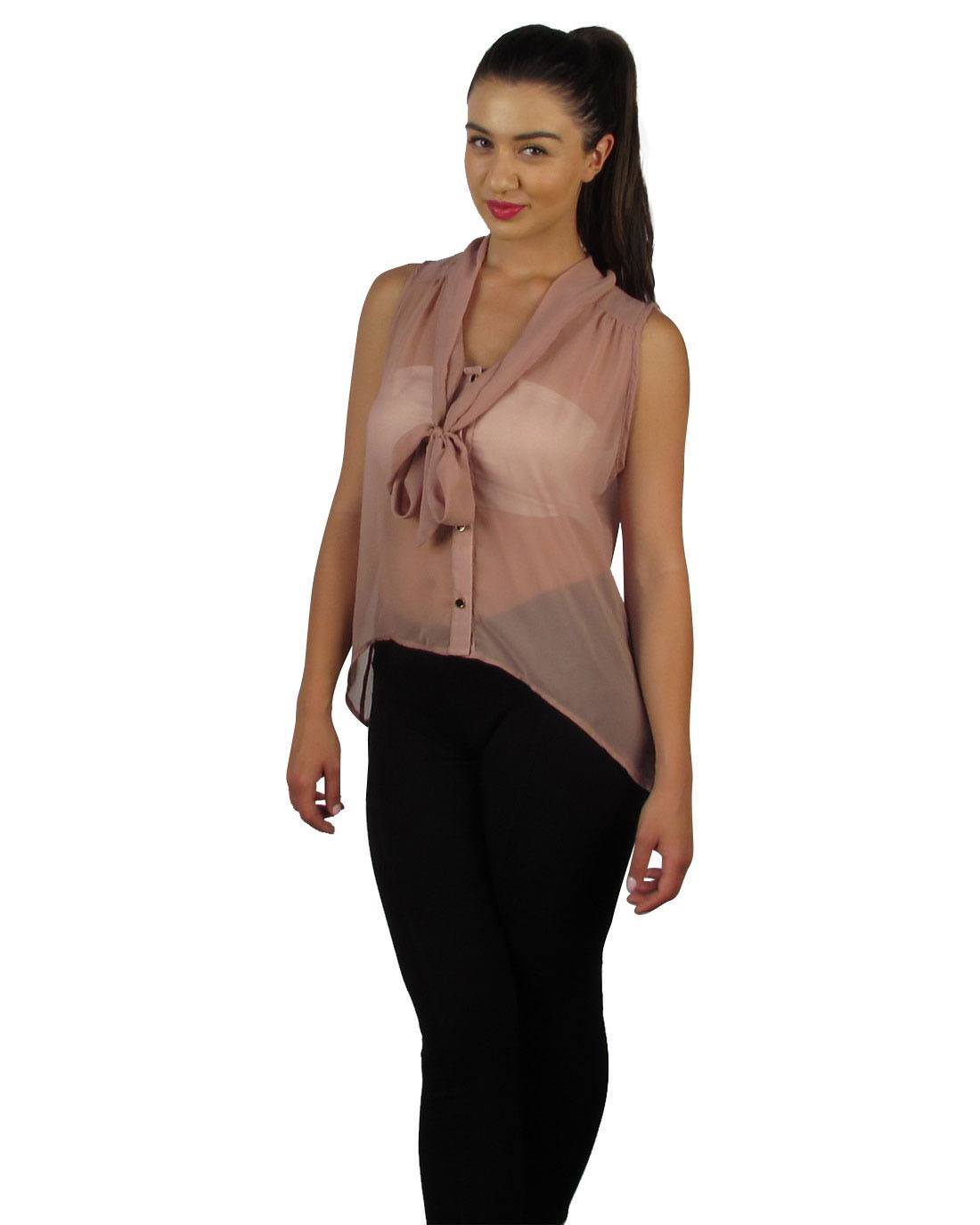 Neck tie sleeveless button down sheer blouse-id27430