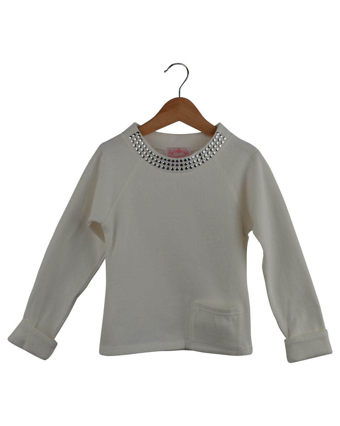 Girls Studded Neckline Pull Over Sweater-id.27958b