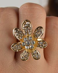 Crystal Studded Seven Petal Flower Ring-id.CC28821