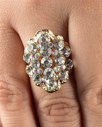 Multifaceted Rhinestone Cluster Adjustable Ring-id.CC28823