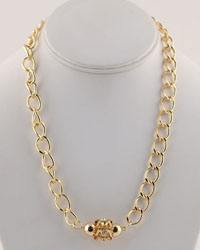 Metal Pendant Accented Curb Link Chained Necklace-id.CC28849