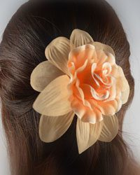 Double Hue Rosette Hair Clip with Leaves-id.CC28864