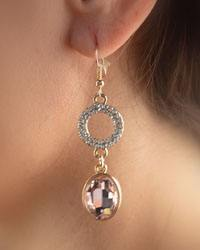 "2"" Multifaceted Crystal and Open Circle Double Drop Earrings-id.CC28869"