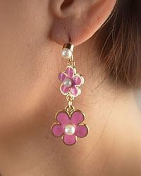"2"" Faux Pearl Accented Floral Double Drop Earrings-id.CC28870"