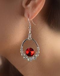 Crystal Accented Open Round Drop Earrings-id.CC28872