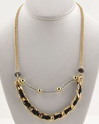 "10"" Double Layered Necklace W/ Braided Rope Link Chain Detail-id.CC28991"