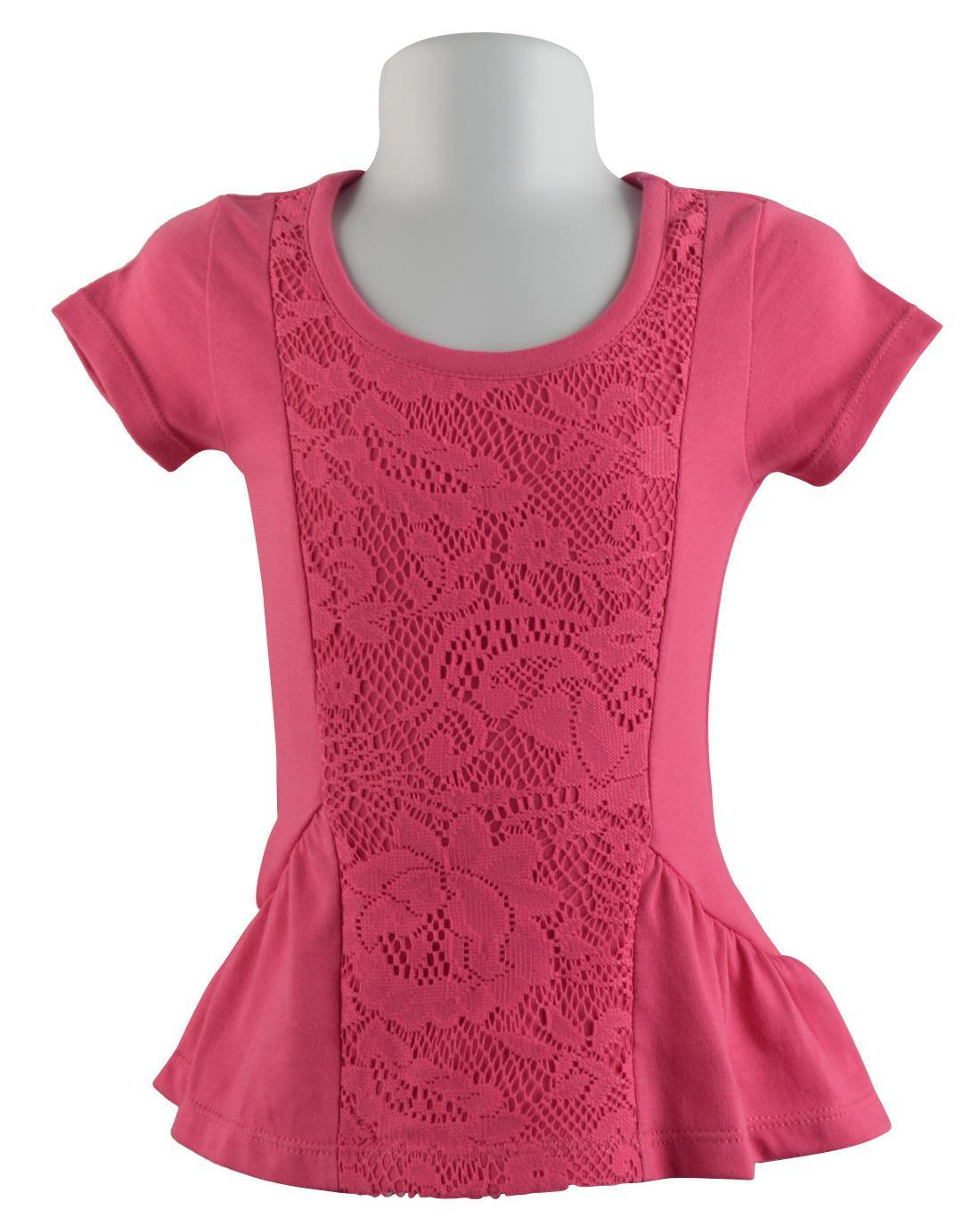 Girls Short Sleeve Floral Lace Top with Flared Hem-id.29210