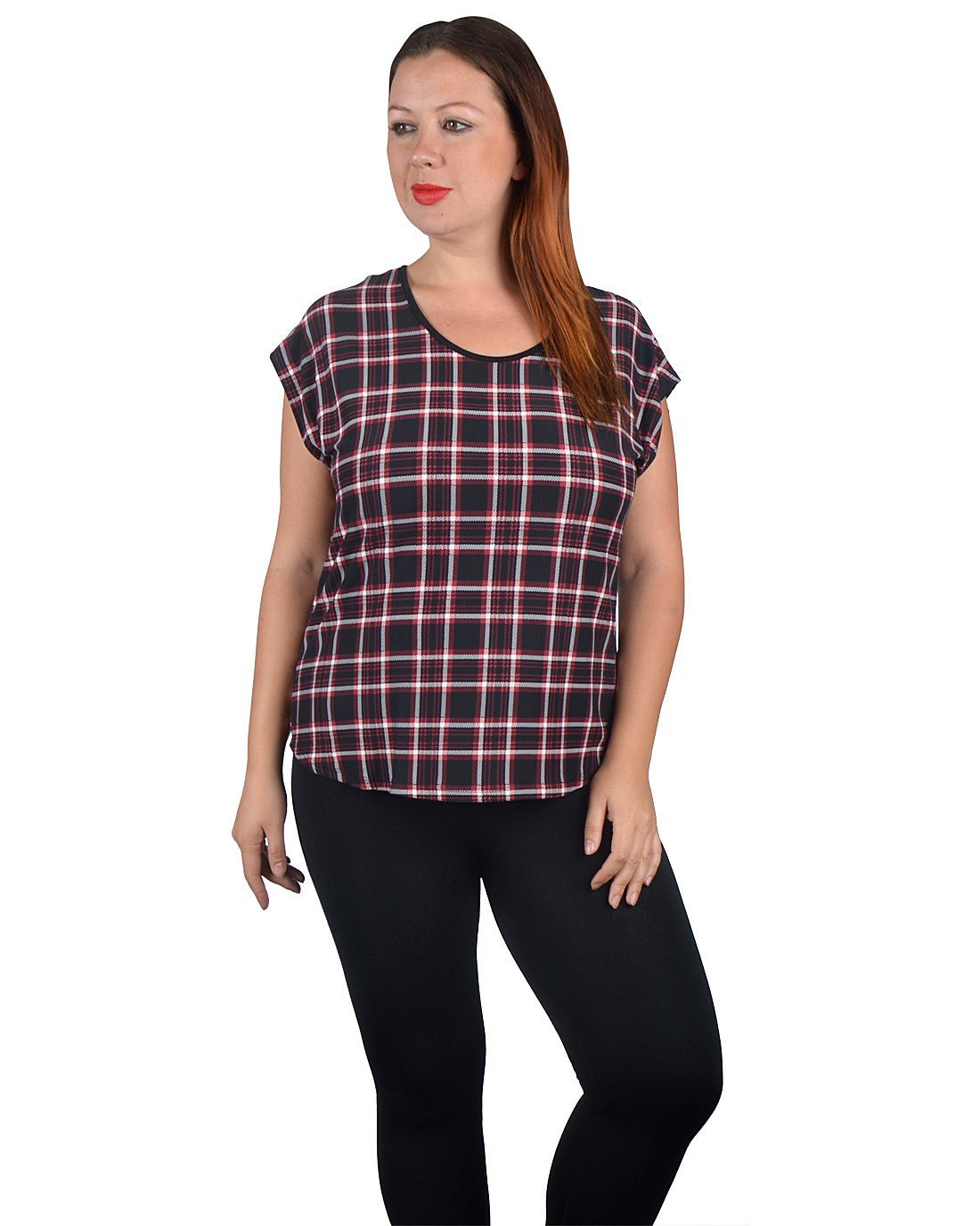 Plus Size Round Neck Casual Plaid Top-id.30908b